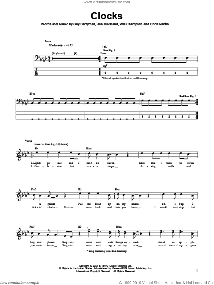 Clocks sheet music for bass (tablature) (bass guitar) by Coldplay, Guy Berryman, Jon Buckland and Will Champion, intermediate skill level