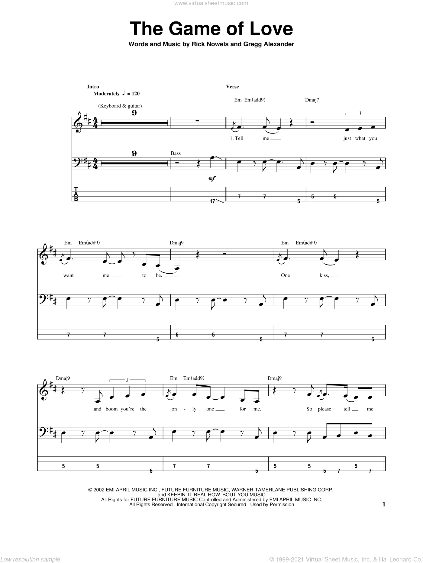 The Game Of Love sheet music for bass (tablature) (bass guitar) by Carlos Santana, Michelle Branch, Gregg Alexander and Rick Nowels, intermediate skill level