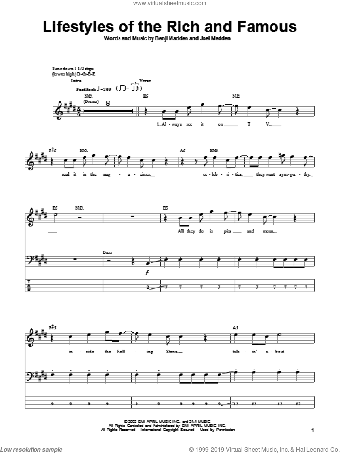 Lifestyles Of The Rich And Famous sheet music for bass (tablature) (bass guitar) by Joel Madden and Benji Madden. Score Image Preview.