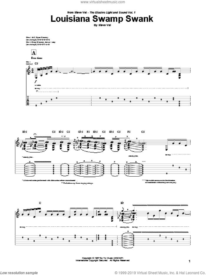Louisiana Swamp Swank sheet music for guitar (tablature) by Steve Vai, intermediate. Score Image Preview.