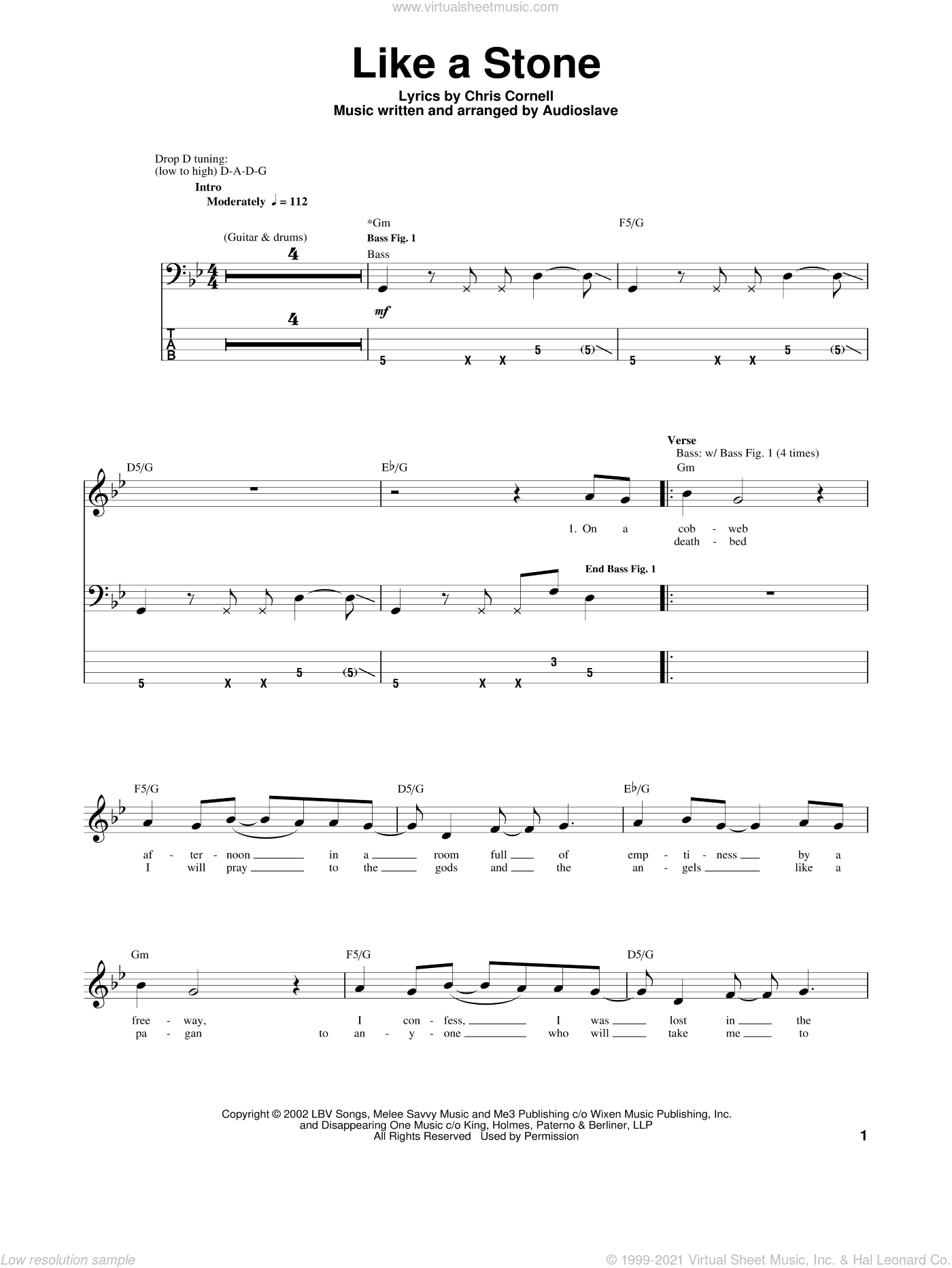 Like A Stone sheet music for bass (tablature) (bass guitar) by Audioslave and Chris Cornell, intermediate bass (tablature) (bass guitar). Score Image Preview.