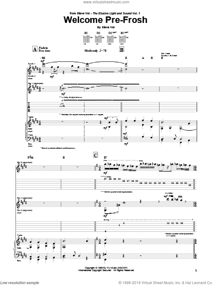 Welcome Pre-Frosh sheet music for guitar (tablature) by Steve Vai. Score Image Preview.