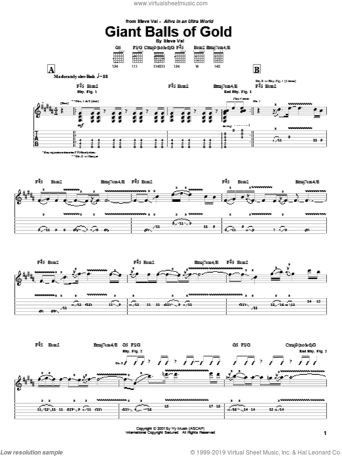 Giant Balls Of Gold sheet music for guitar (tablature) by Steve Vai, intermediate. Score Image Preview.