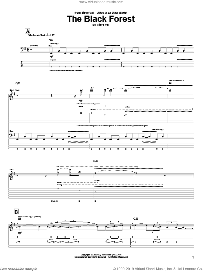 The Black Forest sheet music for guitar (tablature) by Steve Vai, intermediate guitar (tablature). Score Image Preview.