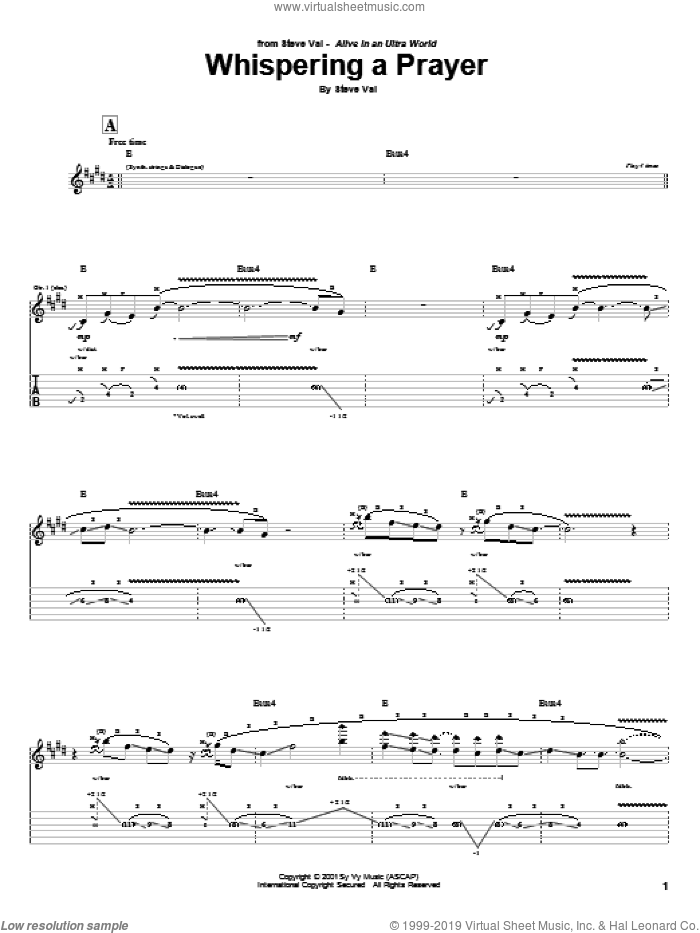 Whispering A Prayer sheet music for guitar (tablature) by Steve Vai, intermediate. Score Image Preview.