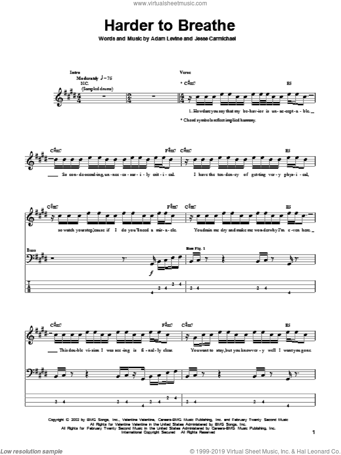 Harder To Breathe sheet music for bass (tablature) (bass guitar) by Maroon 5, Adam Levine and Jesse Carmichael, intermediate. Score Image Preview.