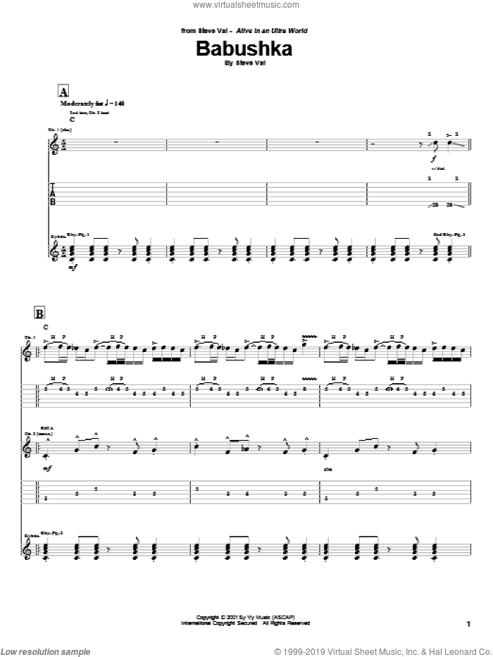 Babushka sheet music for guitar (tablature) by Steve Vai. Score Image Preview.