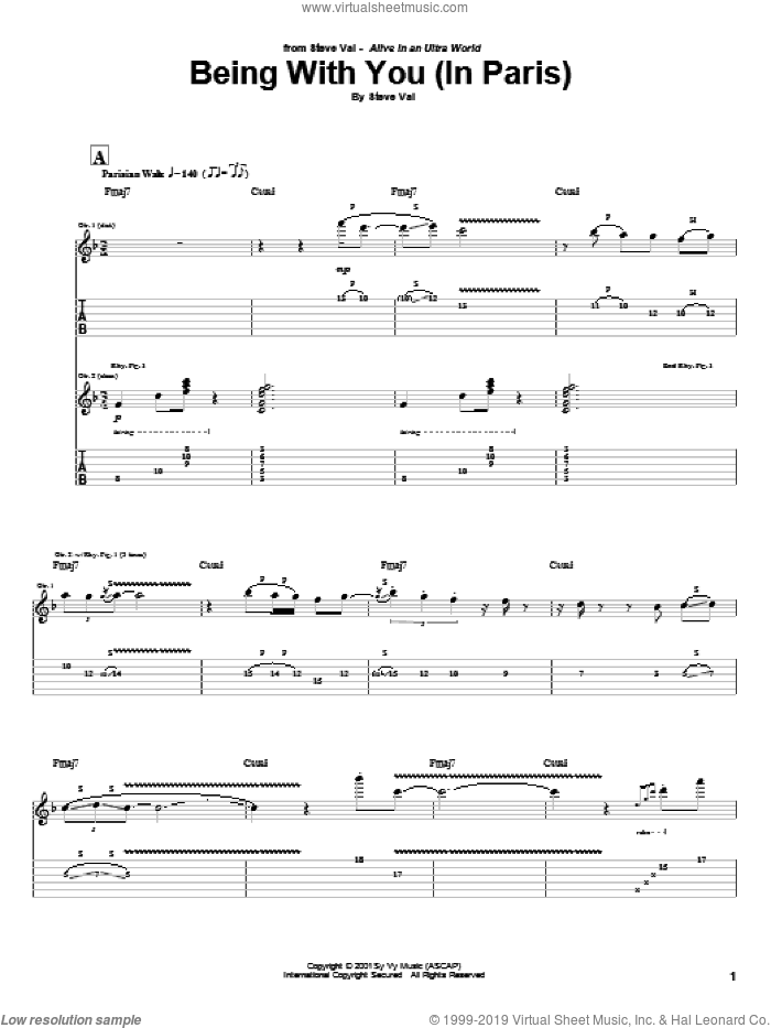 Being With You (In Paris) sheet music for guitar (tablature) by Steve Vai. Score Image Preview.