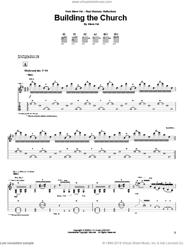Building The Church sheet music for guitar (tablature) by Steve Vai. Score Image Preview.
