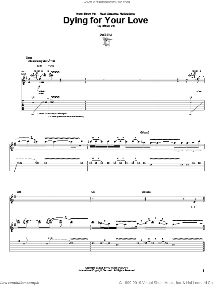 Dying For Your Love sheet music for guitar (tablature) by Steve Vai, intermediate skill level