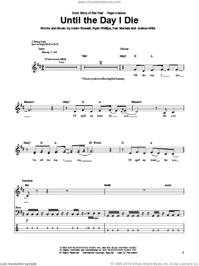 Until The Day I Die sheet music for bass (tablature) (bass guitar) by Story Of The Year, Adam Russell, Dan Marsala and Ryan Phillips, intermediate skill level
