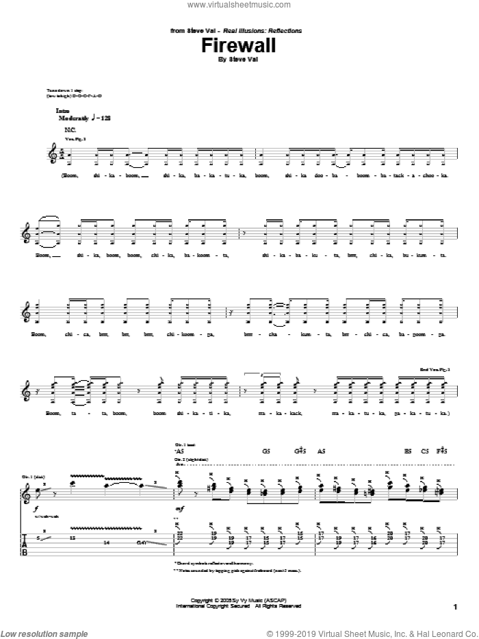 Firewall sheet music for guitar (tablature) by Steve Vai, intermediate. Score Image Preview.