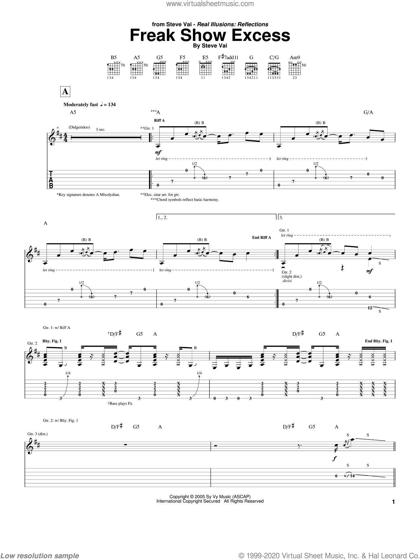 Freak Show Excess sheet music for guitar (tablature) by Steve Vai, intermediate guitar (tablature). Score Image Preview.