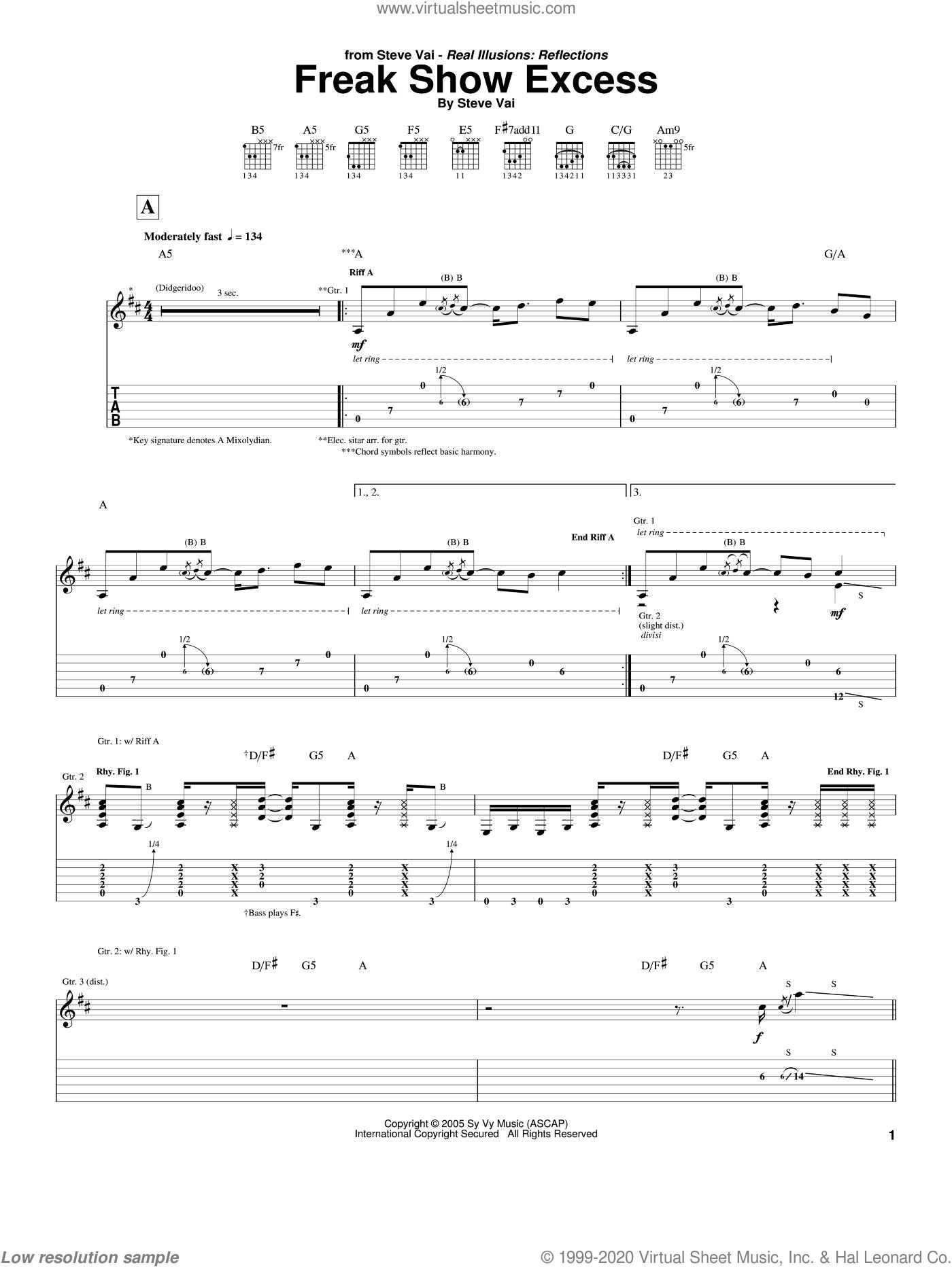 Freak Show Excess sheet music for guitar (tablature) by Steve Vai, intermediate skill level