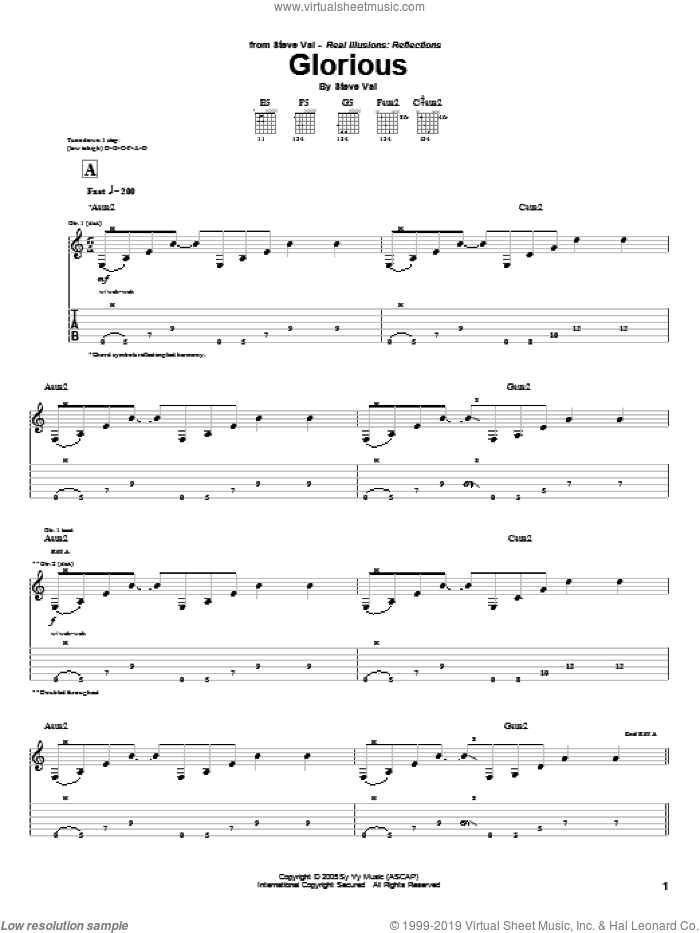Glorious sheet music for guitar (tablature) by Steve Vai. Score Image Preview.