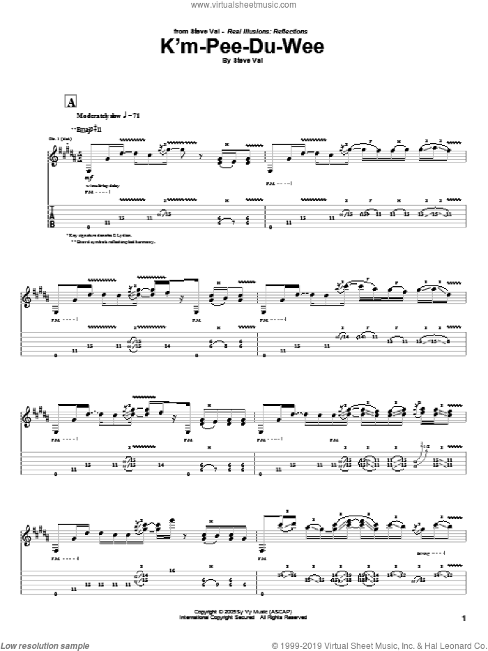 K'm-Pee-Du-Wee sheet music for guitar (tablature) by Steve Vai. Score Image Preview.