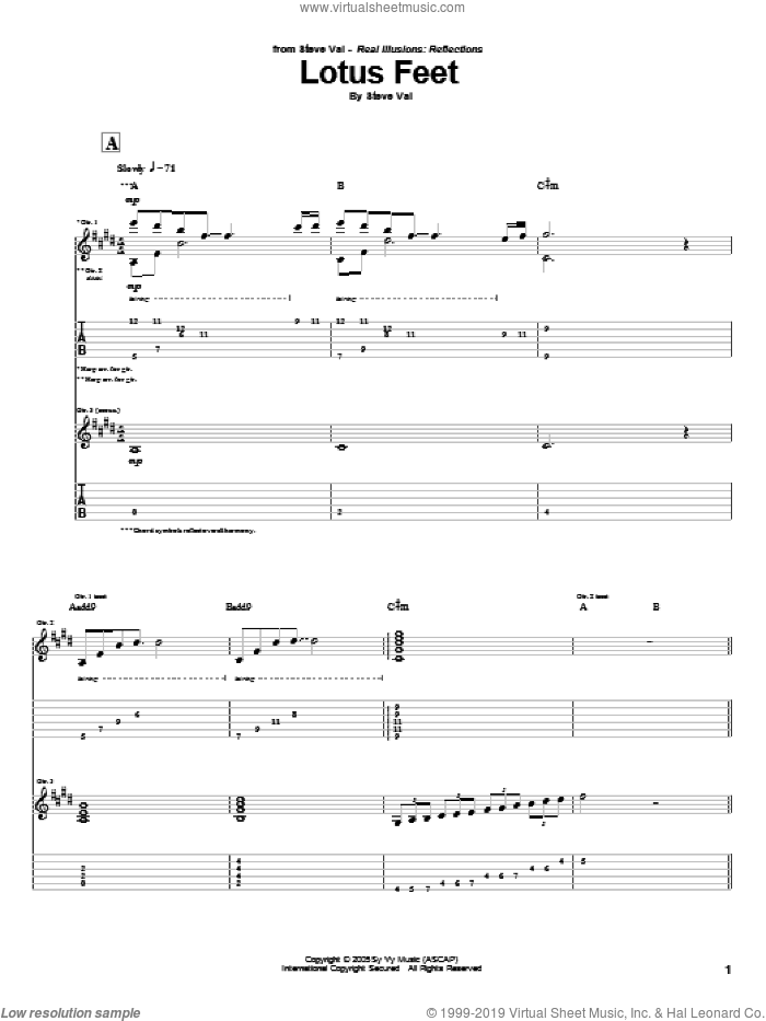 Lotus Feet sheet music for guitar (tablature) by Steve Vai, intermediate skill level