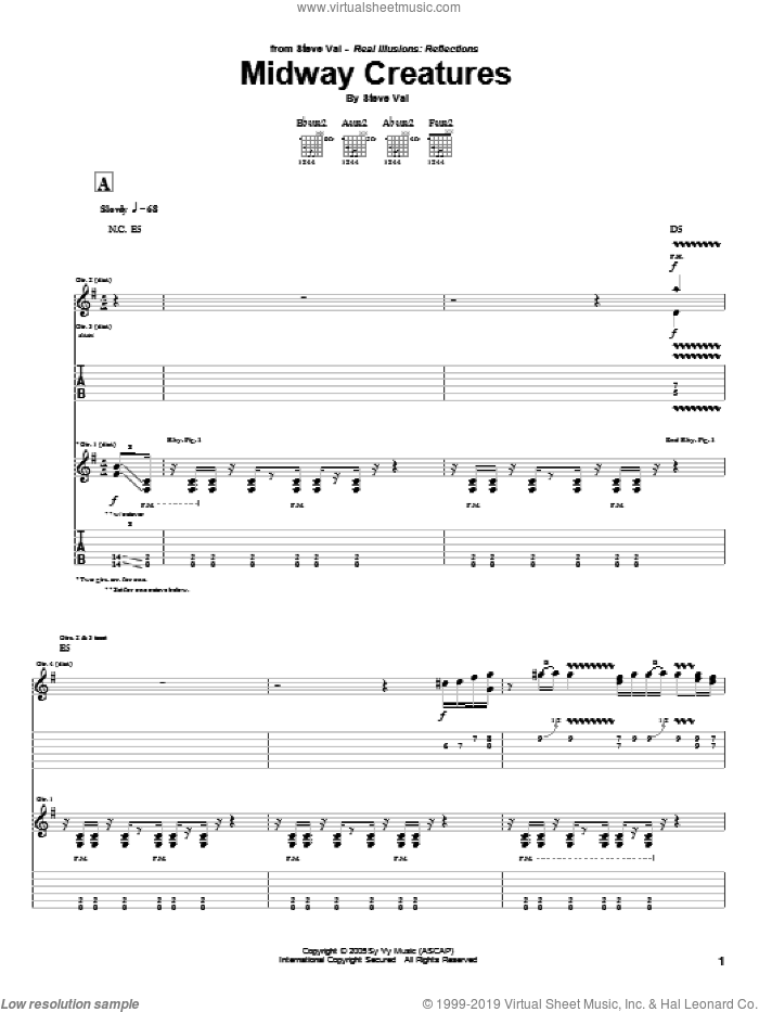 Midway Creatures sheet music for guitar (tablature) by Steve Vai, intermediate