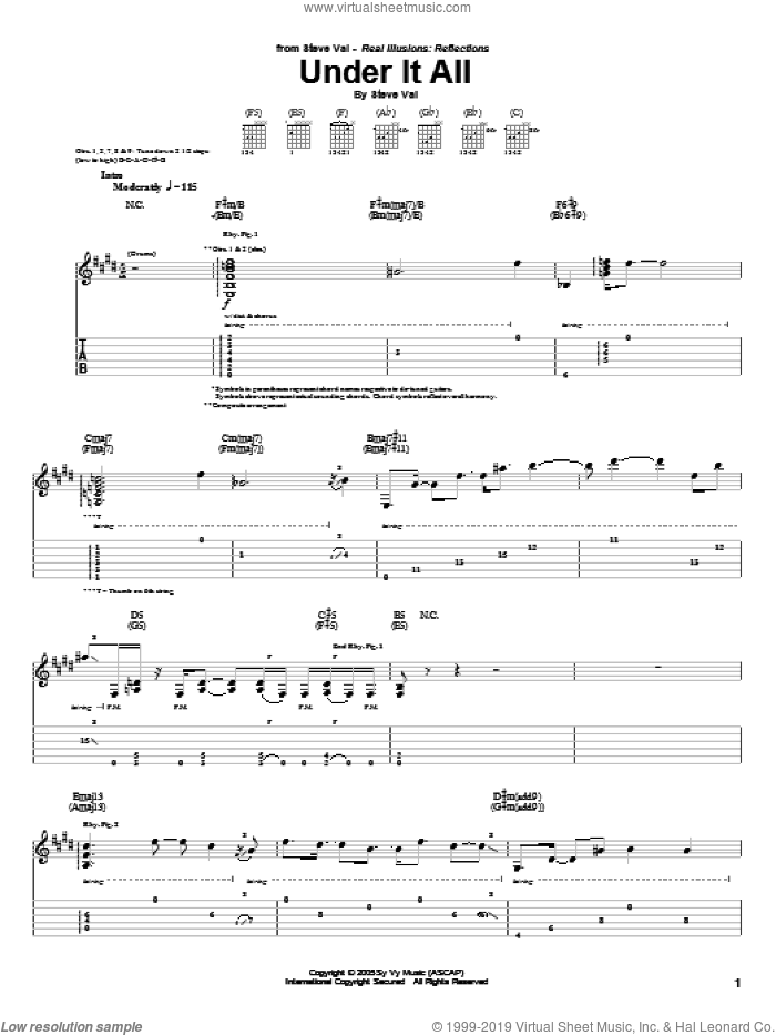 Under It All sheet music for guitar (tablature) by Steve Vai, intermediate guitar (tablature). Score Image Preview.