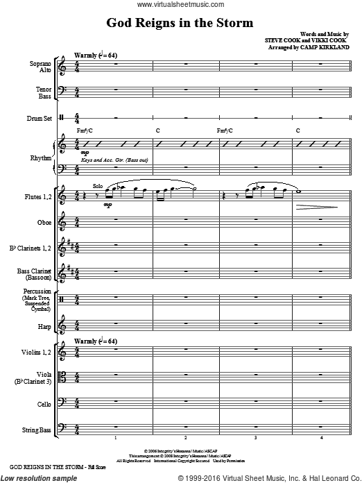 God Reigns In The Storm (COMPLETE) sheet music for orchestra by Vikki Cook and Camp Kirkland. Score Image Preview.