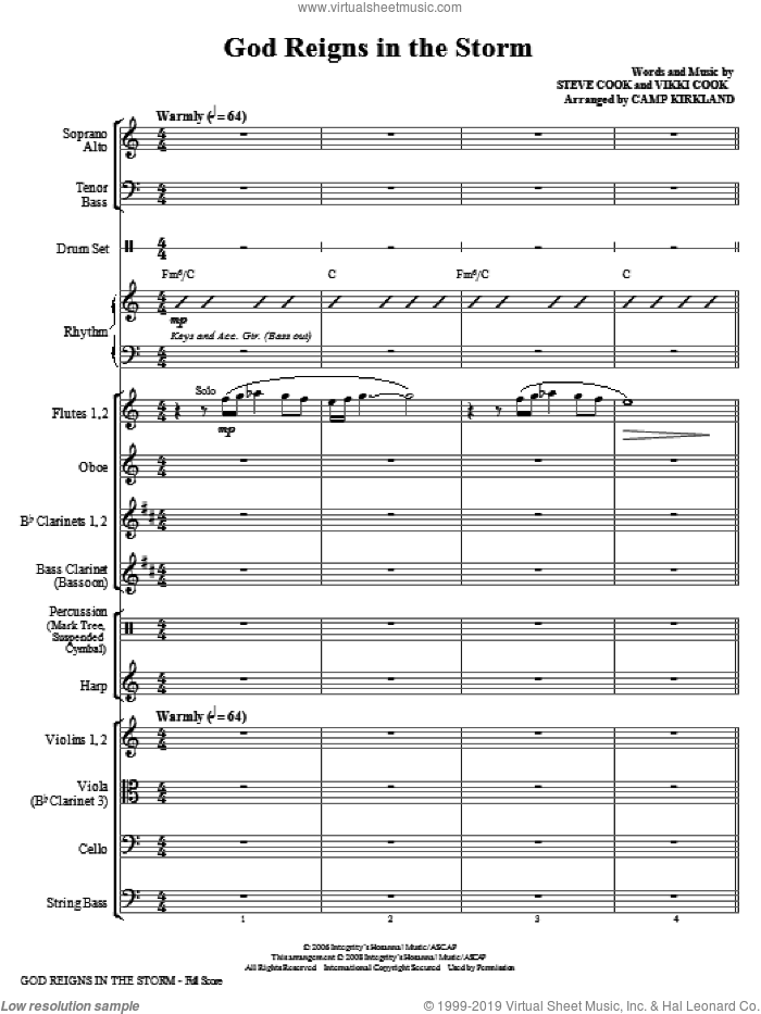 God Reigns In The Storm (COMPLETE) sheet music for orchestra/band (Orchestra) by Vikki Cook, Steve Cook and Camp Kirkland, intermediate skill level