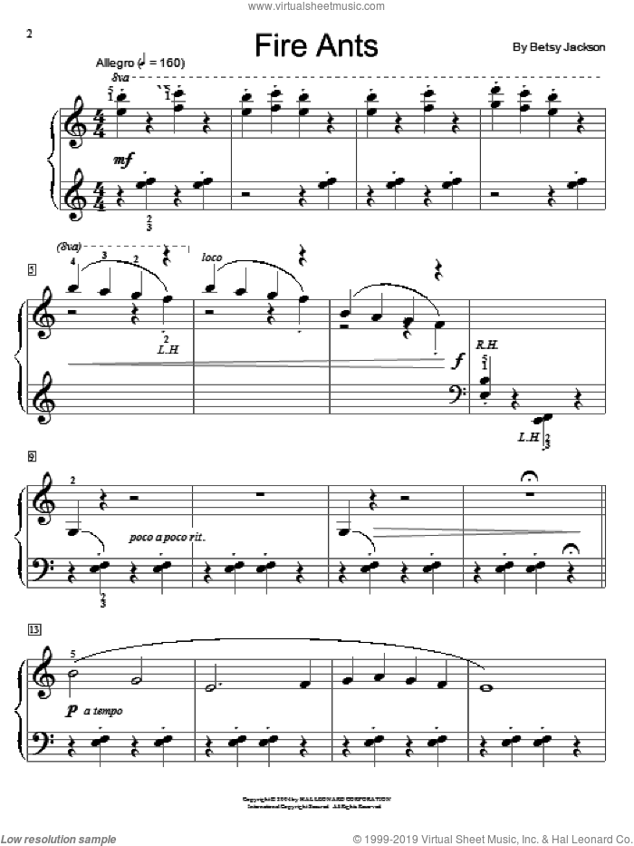 Fire Ants sheet music for piano solo (elementary) by Betsy Jackson and Miscellaneous, beginner piano (elementary). Score Image Preview.