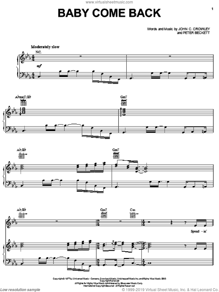 Baby Come Back sheet music for voice, piano or guitar by Player, John C. Crowley and Peter Beckett, intermediate skill level