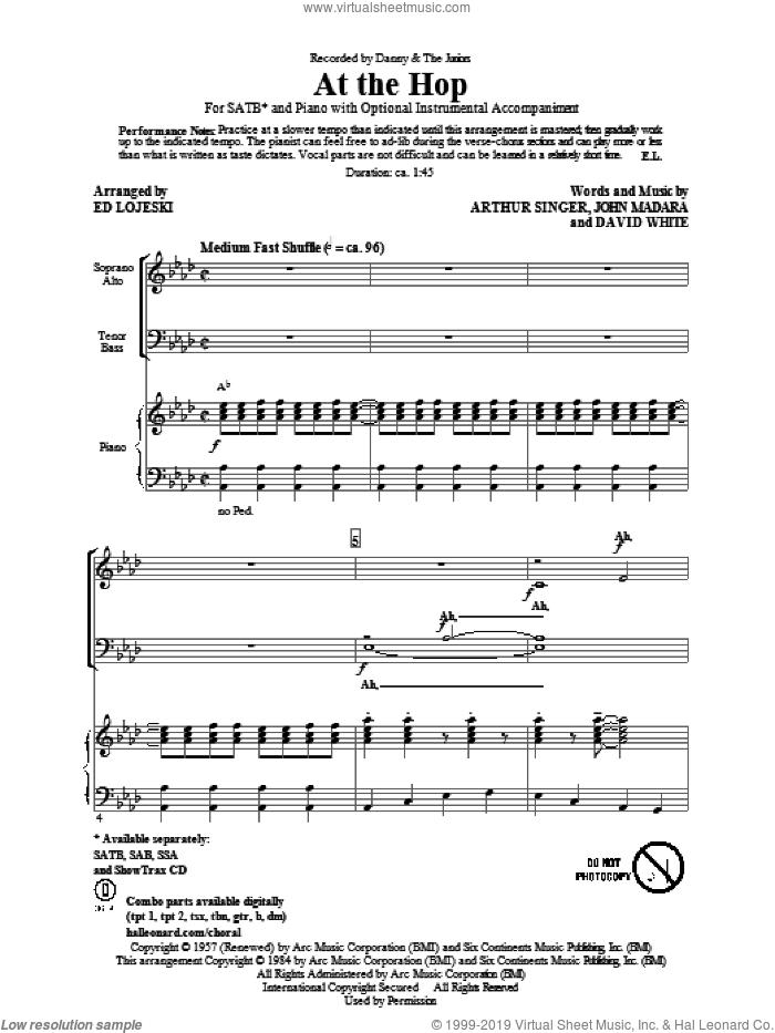 At The Hop sheet music for choir (SATB: soprano, alto, tenor, bass) by Ed Lojeski, Arthur Singer, David White, John Madara and Danny & The Juniors, intermediate skill level