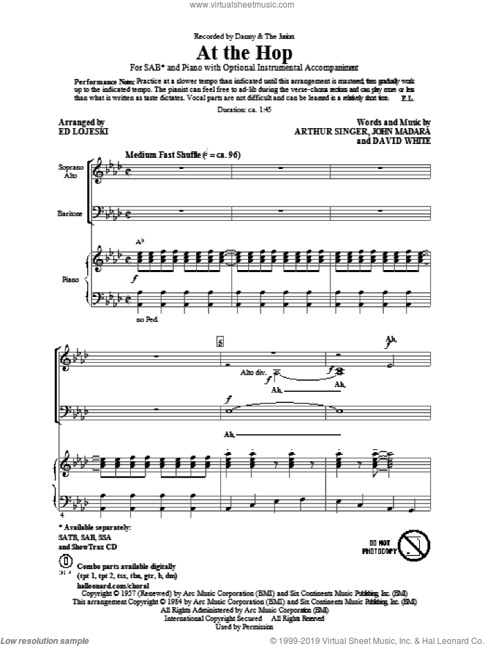 At The Hop sheet music for choir (SAB: soprano, alto, bass) by Ed Lojeski, Arthur Singer, David White, John Madara and Danny & The Juniors, intermediate skill level
