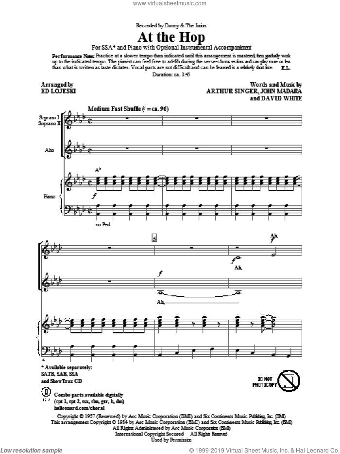 At The Hop sheet music for choir (SSA: soprano, alto) by Ed Lojeski, Arthur Singer, David White, John Madara and Danny & The Juniors, intermediate skill level
