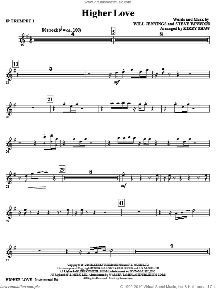 Higher Love (complete set of parts) sheet music for orchestra/band by Steve Winwood, Will Jennings and Kirby Shaw, intermediate skill level