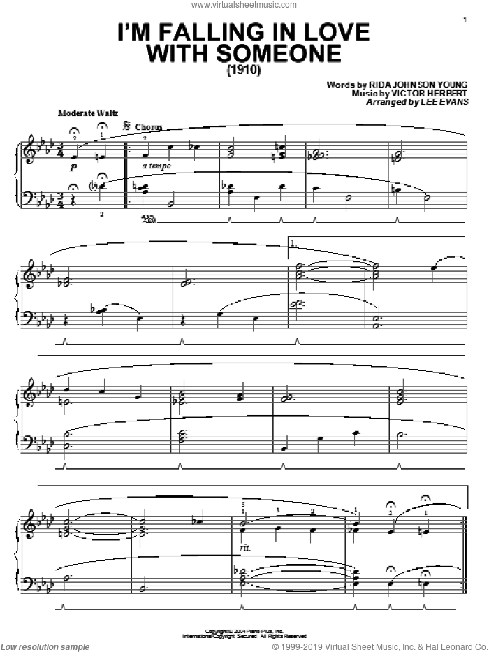 I'm Falling In Love With Someone sheet music for piano solo by Rida Johnson Young and Victor Herbert, intermediate skill level