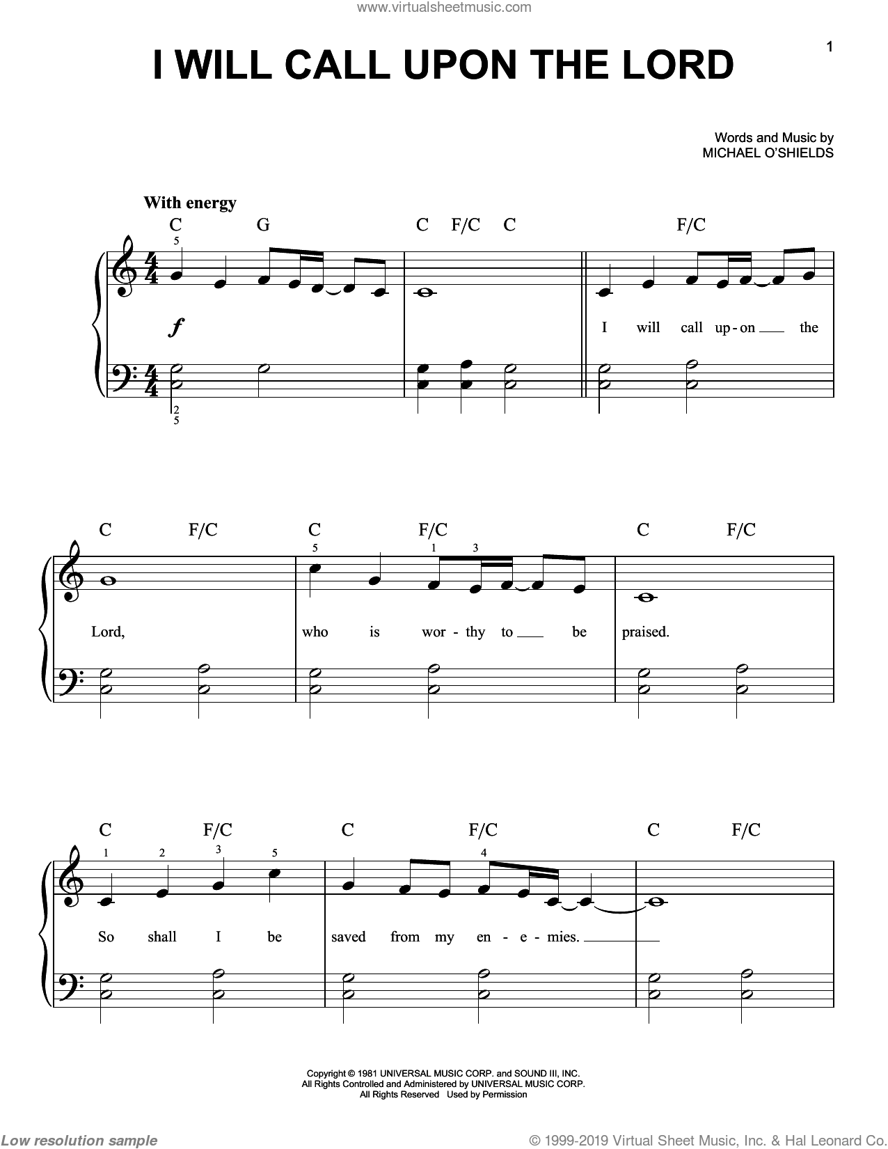 I Will Call Upon The Lord sheet music for piano solo by Michael O'Shields. Score Image Preview.