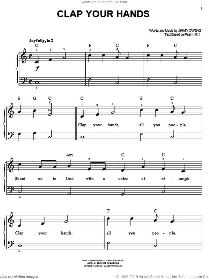 Clap Your Hands sheet music for piano solo by Ginny Owens. Score Image Preview.