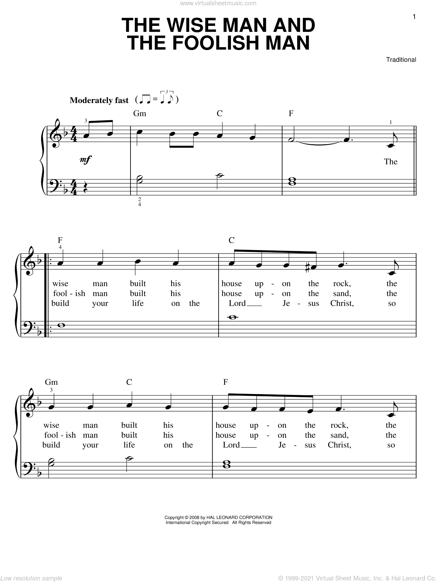 The Wise Man And The Foolish Man sheet music for piano solo, easy skill level