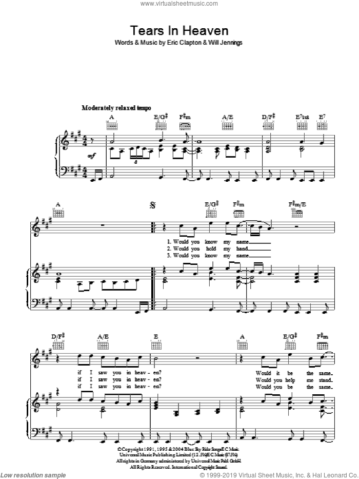 Tears In Heaven sheet music for voice, piano or guitar by Eric Clapton and Will Jennings, intermediate. Score Image Preview.