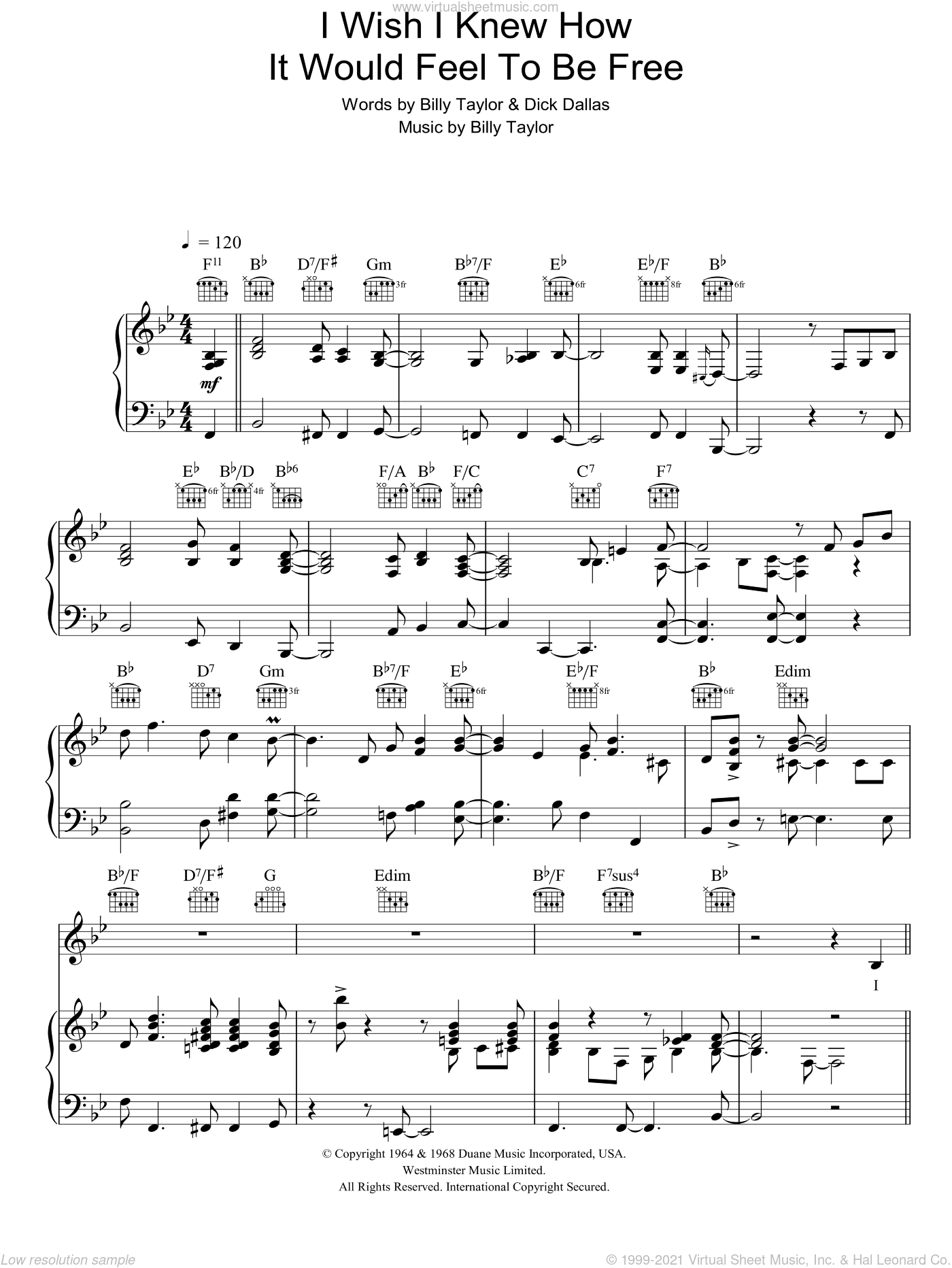 I Wish I Knew How It Would Feel To Be Free sheet music for voice, piano or guitar by Nina Simone, Billy Taylor and Dick Dallas, intermediate skill level