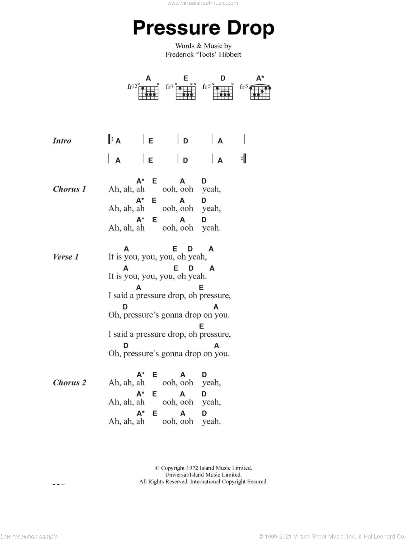 Pressure Drop sheet music for guitar (chords) by The Clash. Score Image Preview.