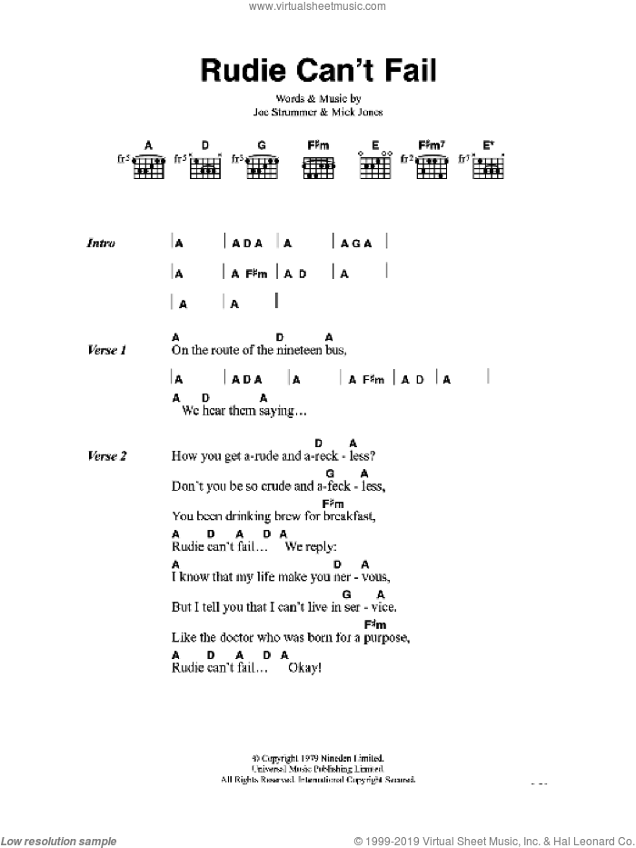 Rudie Can't Fail sheet music for guitar (chords) by The Clash, intermediate. Score Image Preview.