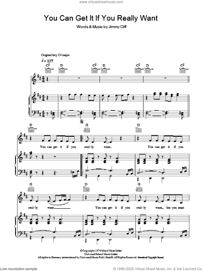 You Can Get It If You Really Want sheet music for voice, piano or guitar by Jimmy Cliff and Desmond Dekker. Score Image Preview.