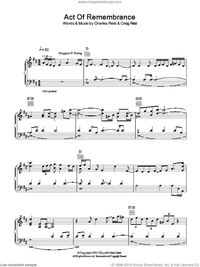 Act Of Remembrance sheet music for voice, piano or guitar by The Proclaimers, Charles Reid and Craig Reid, intermediate. Score Image Preview.
