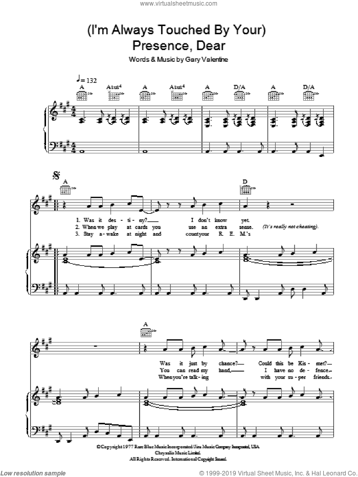 (I'm Always Touched By Your) Presence Dear sheet music for voice, piano or guitar by Gary Valentine and Blondie. Score Image Preview.