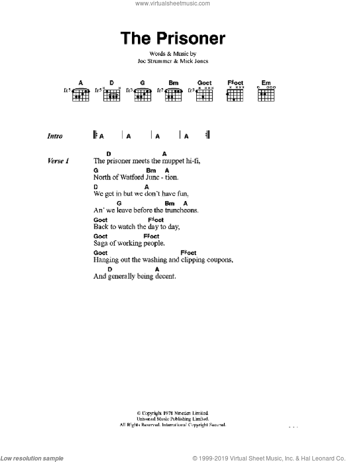 The Prisoner sheet music for guitar (chords) by The Clash and Mick Jones. Score Image Preview.