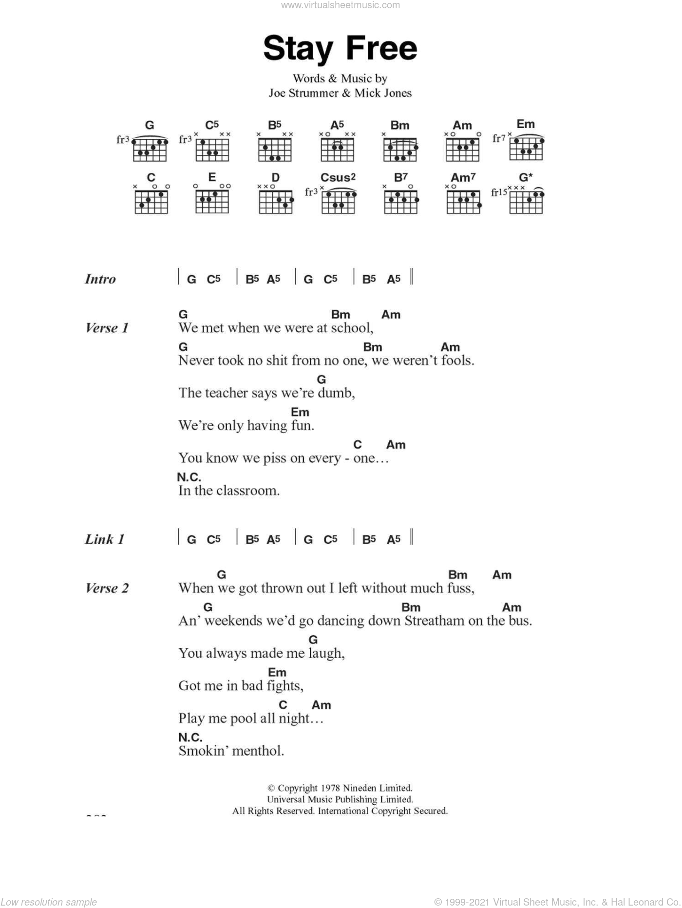Stay Free sheet music for guitar (chords) by Joe Strummer, The Clash and Mick Jones. Score Image Preview.