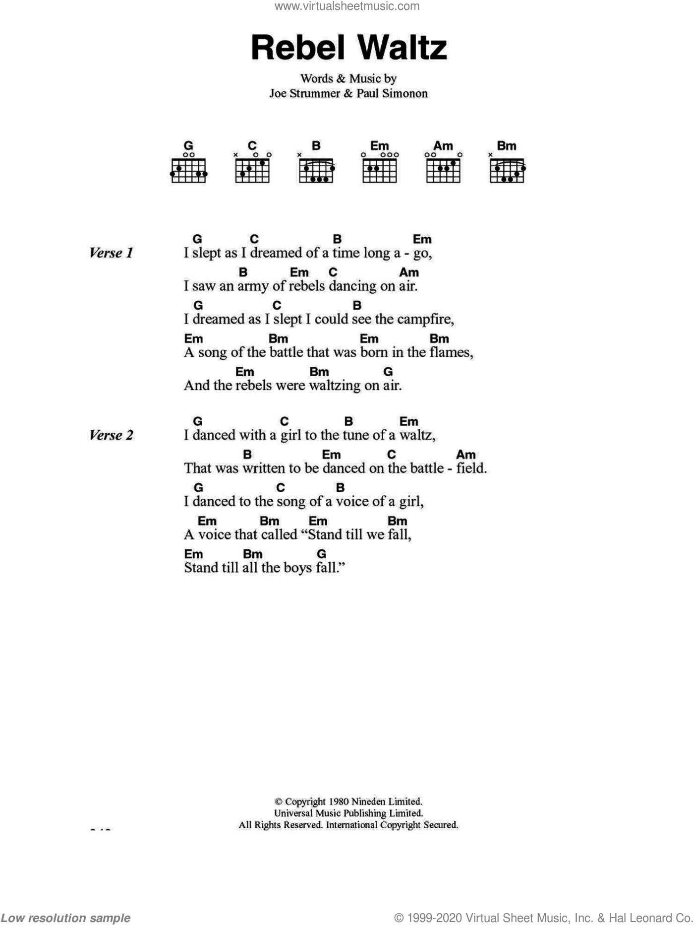 Clash - Rebel Waltz sheet music for guitar (chords) [PDF]