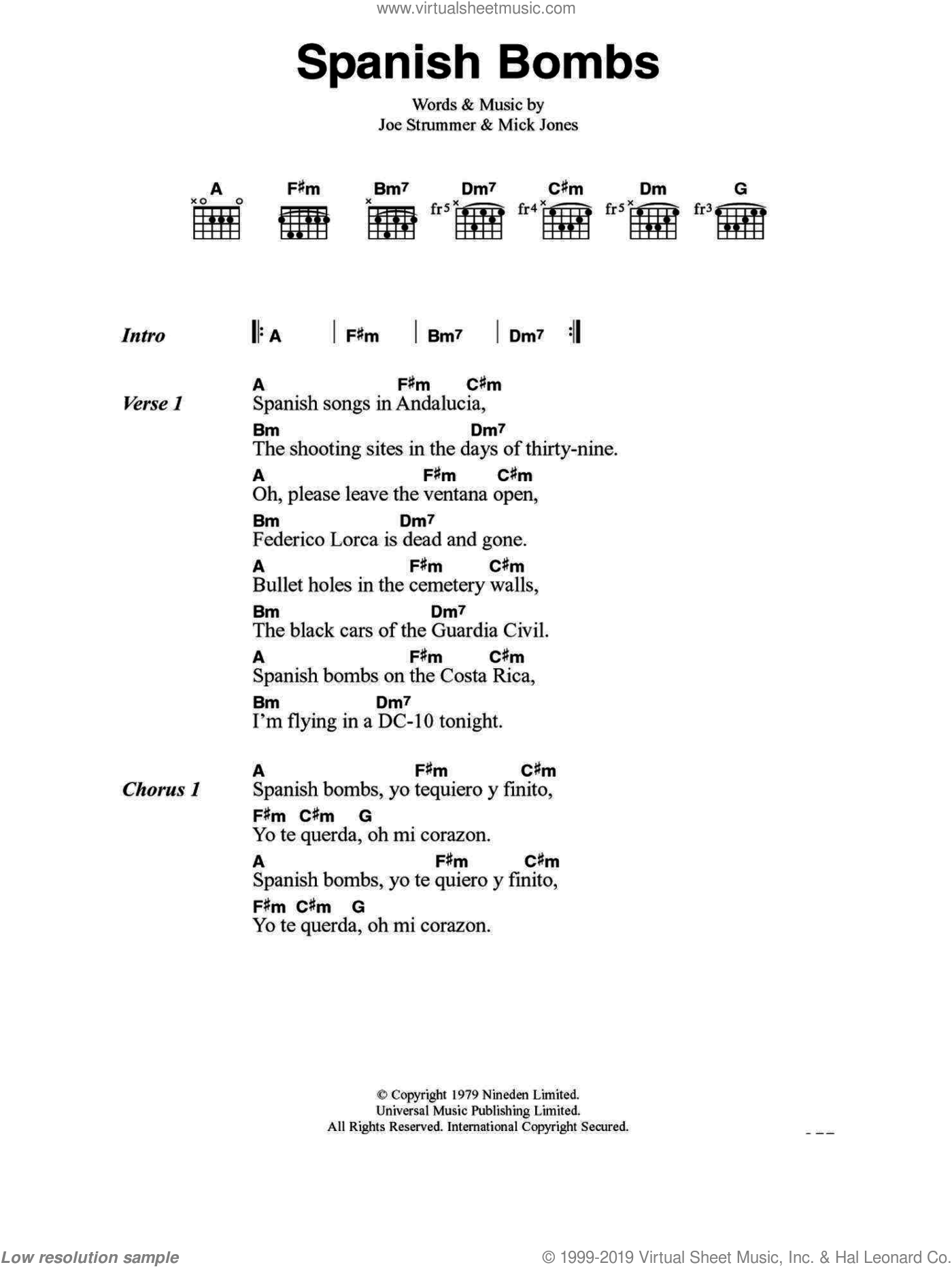 Spanish Bombs sheet music for guitar (chords) by The Clash and Mick Jones. Score Image Preview.