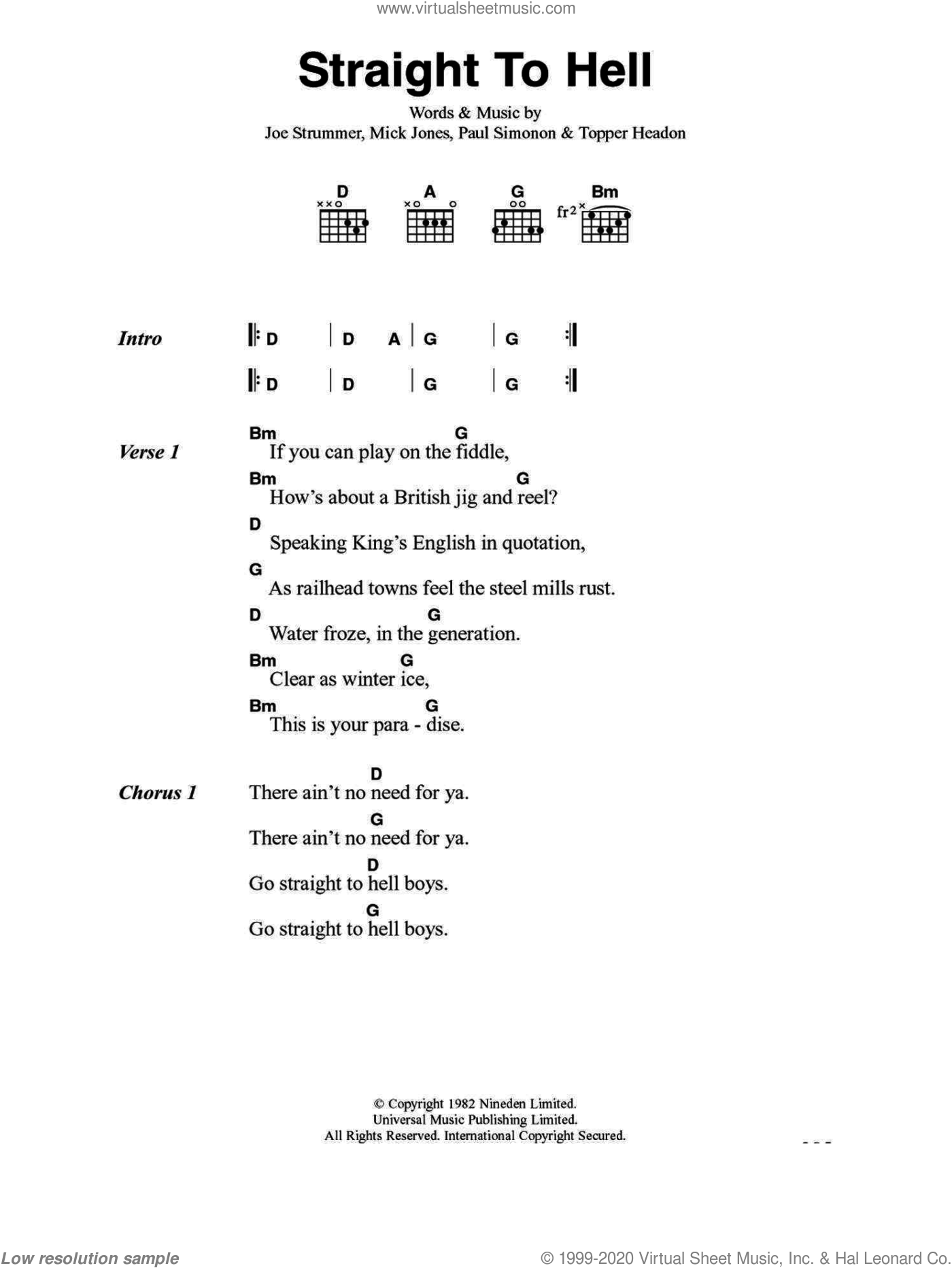 Straight To Hell sheet music for guitar (chords) by Joe Strummer, The Clash, Mick Jones, Paul Simonon and Topper Headon. Score Image Preview.