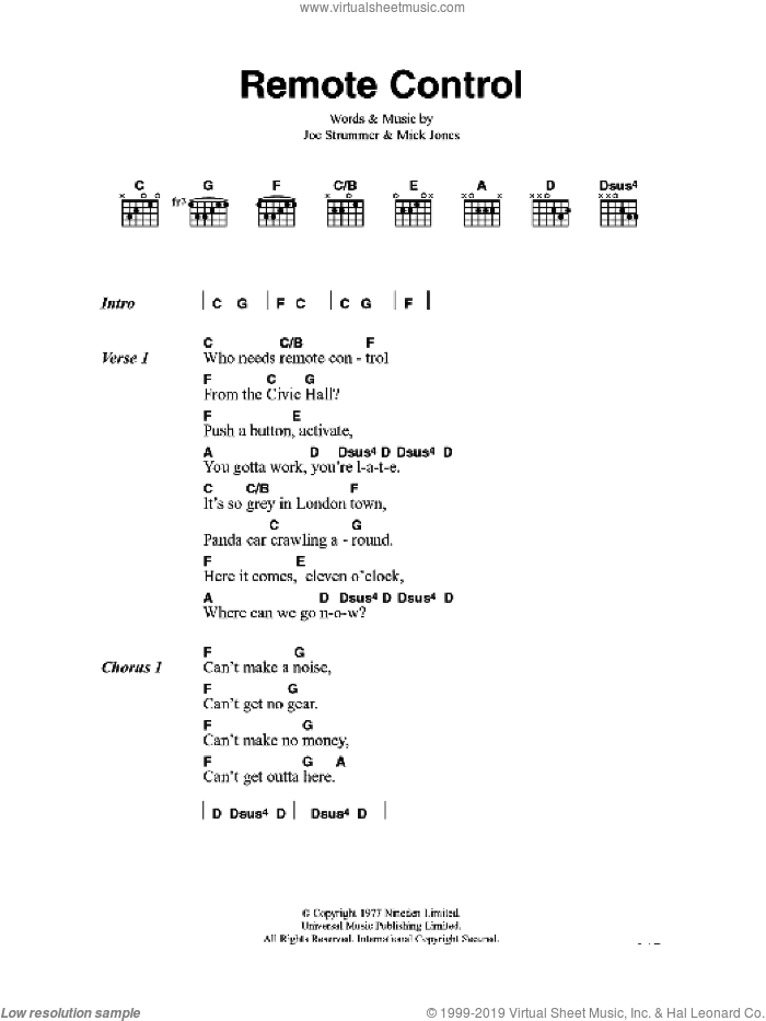 Remote Control sheet music for guitar (chords) by Joe Strummer