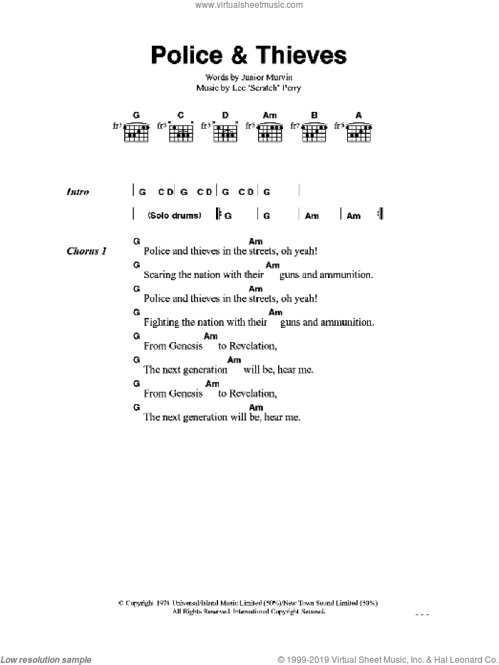 Police And Thieves sheet music for guitar (chords) by Lee Perry and The Clash. Score Image Preview.