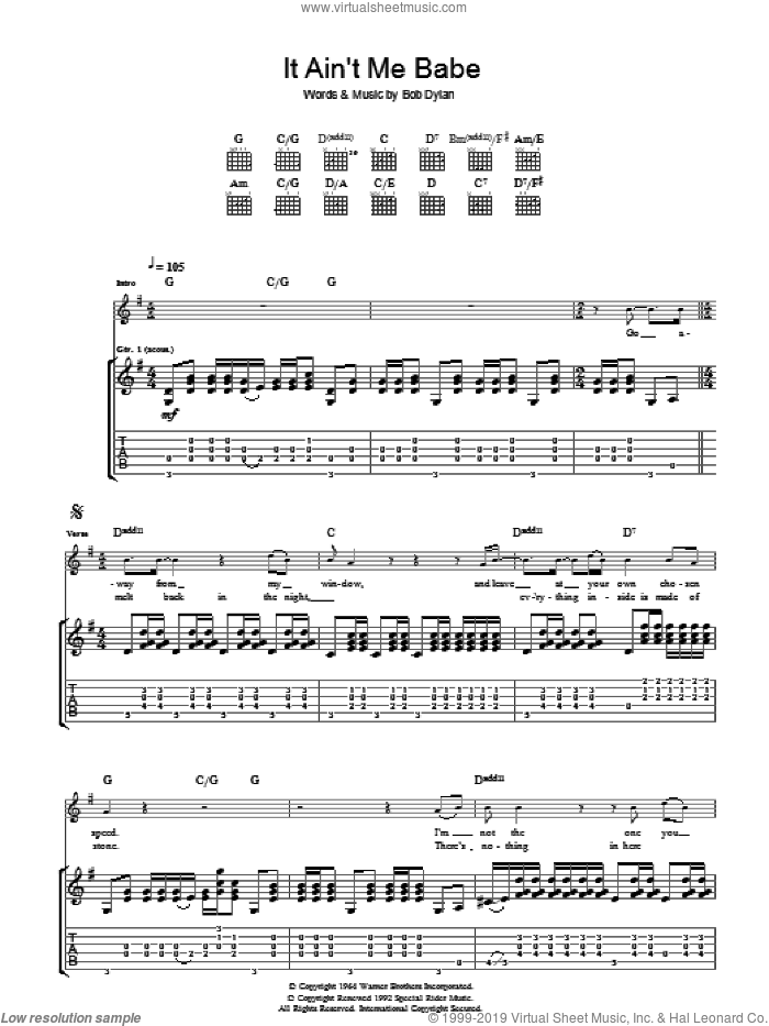 It Ain't Me Babe sheet music for guitar (tablature) by Bob Dylan. Score Image Preview.
